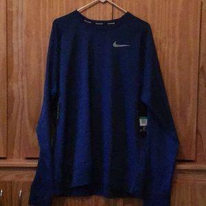Nike dri-fit blue long sleeve running shirt
